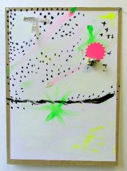 Coco-Tot-For-Dj-Jo-2008-700mm-x-505mm-Acrylic-phospheresent-paint-and-paper-on-paper