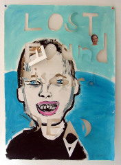 Copy-of-Dead-Disabled-boy-Acrylic-and-newsprint-on-paper-2008