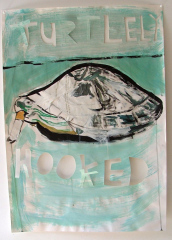 Turtley-Hooked-Acrylic-on-Paper-83cm-x-59cm-2008