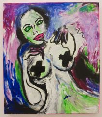 Angelina-Jolie-Puff-Goes-the-Dragon-2010-Mixed-media-on-canvas
